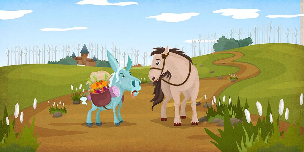 Езоп – Коњ и магаре